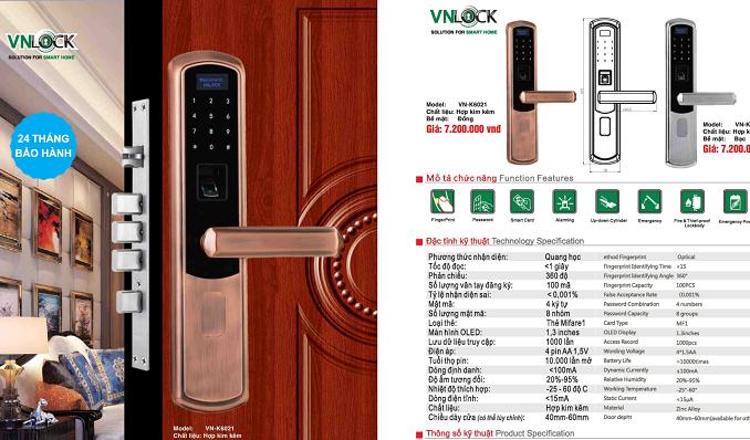 tính năng nổi bật của khóa cửa VNLOCK